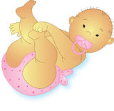 Baby pink. Baby asian pink with knickers and pink pacifier Royalty Free Stock Photography
