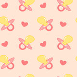 Baby pink background seamless pattern illustration with pacifier Stock Images