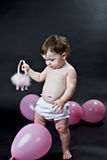 Baby with Pink Balloons Stock Photo