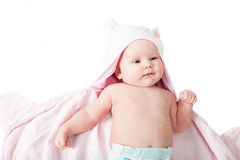 Baby in pink after bath Stock Photo
