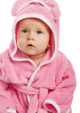 Baby in pink bathrobe Stock Images