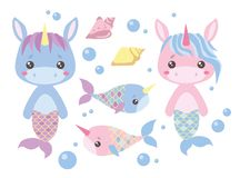Baby pink and blue cartoon unicorn mermaids, swordfish, seashell and water bubbles vector illustration set stock illustration
