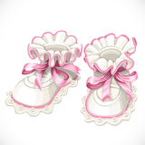 Baby pink booties Royalty Free Stock Image