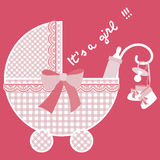 Baby pink born. Baby pink card announcement with pram, pacifier, baby booties and bottle Stock Photo