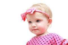 Baby with pink bow Royalty Free Stock Image