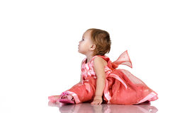 Baby in pink dress Royalty Free Stock Photos