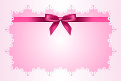 Baby pink frame with lace Royalty Free Stock Photography