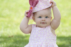 Baby with Pink hat. This is a baby with Pink a hat Royalty Free Stock Photo