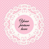 Baby Pink Lace Doily Frame, Polka Dot Background Royalty Free Stock Photography