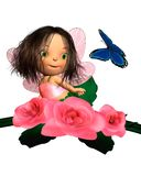 Baby Pink Rose Fairy with Butterfly. Cute toon baby fairy sitting in a pink rose bush and looking at a blue butterfly, 3d digitally rendered illustration Stock Photo