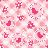 Baby pink seamless with bird. Stock Photography