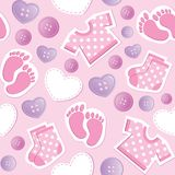 Baby pink seamless pattern. With patches and buttons Royalty Free Stock Photo