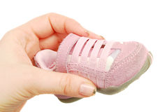 Baby pink  sneakers Royalty Free Stock Images