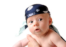 Baby pirat no. 2. Baby with head cloth Stock Images