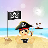 Baby pirate on the beach Royalty Free Stock Photography