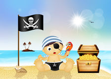 Baby pirate on the beach Stock Photos