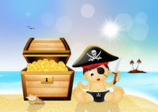 Baby pirate with treasure chest Royalty Free Stock Photography