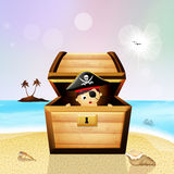 Baby pirate in treasure chest Royalty Free Stock Image