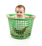 Baby in plastic box Stock Photography
