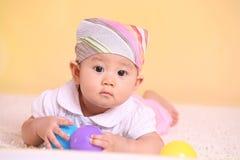 Baby play ball stock photography
