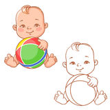 Baby play with ball. Cute little baby holding rubber ball. Cartoon happy smiling toddler with toy. One year old child in diaper sitting playing. Colorful and Stock Photography