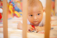 Baby play in bed with grating Stock Photography
