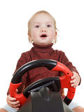 Baby Play computer racing,  on white Royalty Free Stock Images
