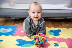 Baby play and crawling Royalty Free Stock Images