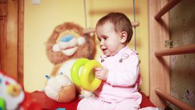 Baby play photo sequence. Baby play with toys, video from photo sequence stock video