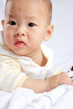 Baby play with rocket model Royalty Free Stock Photos