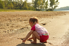 Baby Play Sand Beach Royalty Free Stock Image