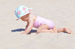 Baby play with sand Stock Photography