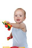 Baby play with toy  Airplane in blue dress smiling Royalty Free Stock Images
