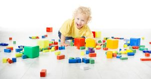Baby Play Toy Blocks, Crawling Child Playing on Floor with Toys Royalty Free Stock Images