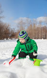 Baby play winter Stock Image