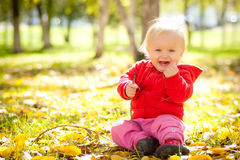 Baby play with wooden brench under trees in park Stock Photography