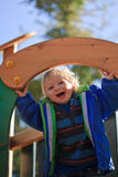 Baby on playground. Happy little boy on playground Royalty Free Stock Images