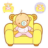 Baby playing in baby bed. Home and Family Characte Royalty Free Stock Image