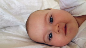 Baby Playing On A Bed 02 stock video footage