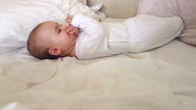Baby Playing On A Bed 04 stock video footage