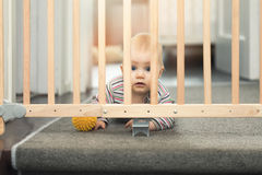 Baby playing behind safety gates Stock Photography