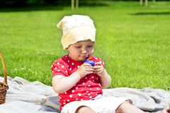 Baby playing on blanket Royalty Free Stock Images