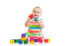 Baby playing with block toys Royalty Free Stock Photos