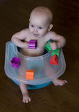 Baby playing with blocks Royalty Free Stock Images