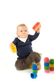 Baby playing with blocks on white background Stock Photography