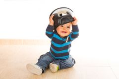 Baby playing. With a boxing helmet Royalty Free Stock Photography
