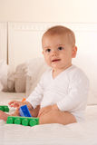 Baby and playing bricks Royalty Free Stock Images