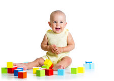 Baby playing with building block toys Royalty Free Stock Photo