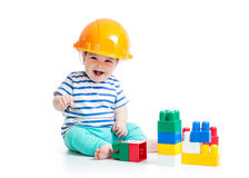 Baby playing with building blocks toys Royalty Free Stock Photo