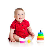 Baby playing with color toy Royalty Free Stock Photography